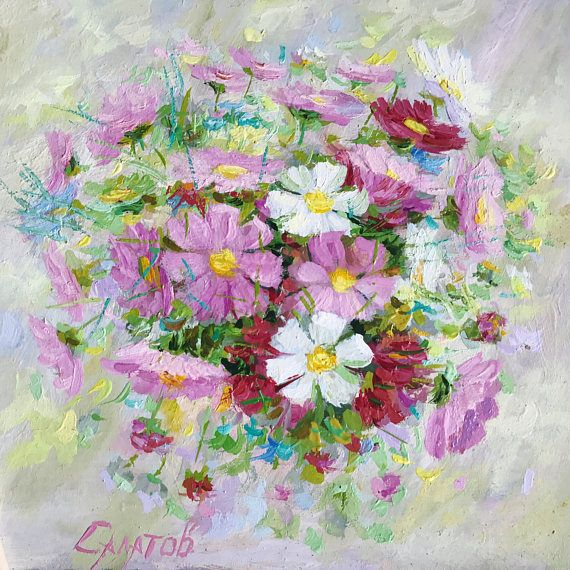 original oil painting 12x12 Cosmos Flowers artwork still life wall home interior decor pink spring bouquet fine art square painting
