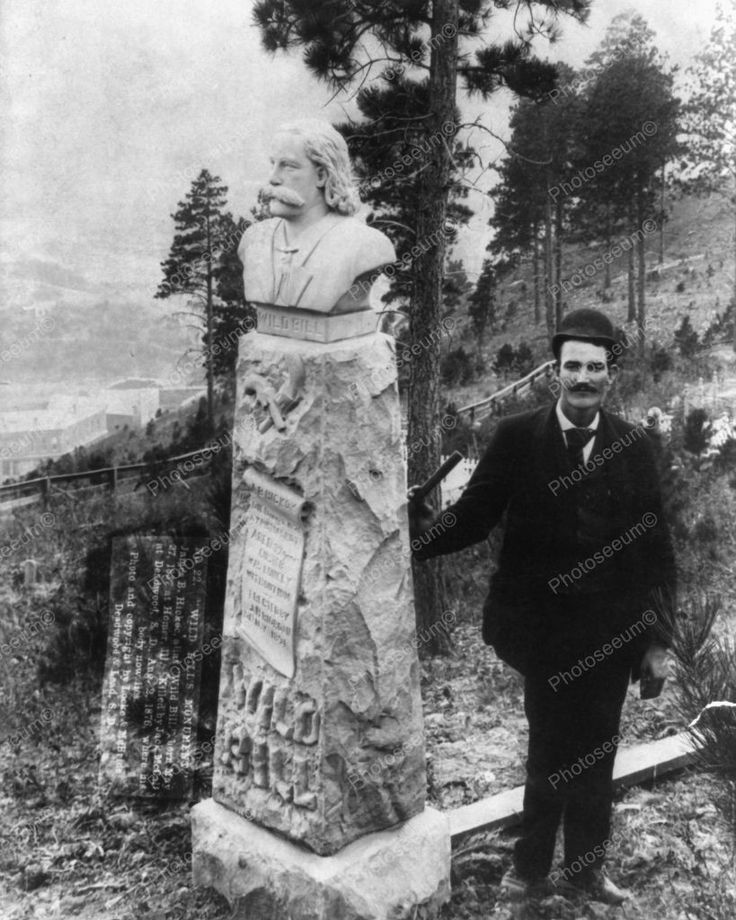 James Butler At Grave Of Wild Bill Hickok 1891 Vintage 8x10 Reprint Of Old Photo