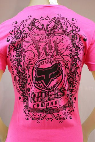 Fox Racing fuchsia pink T-shirt with black grpahic print