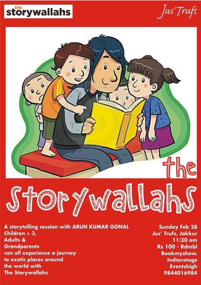 Revisit the age old tradition of storytelling, by Arun Kumar Gonal, with another episode of an enchanted afternoon! Book Tickets- http://www.mycity4kids.com/…/E…/Storytelling_Jakkur/59700_ed