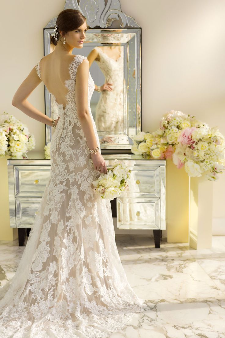 537 best time for dresses weddings images on pinterest sheath gown in lace over lustre satin featuring scalloped lace edging at the hem neckline and low v back available with or without diamante beading in a ombrellifo Choice Image