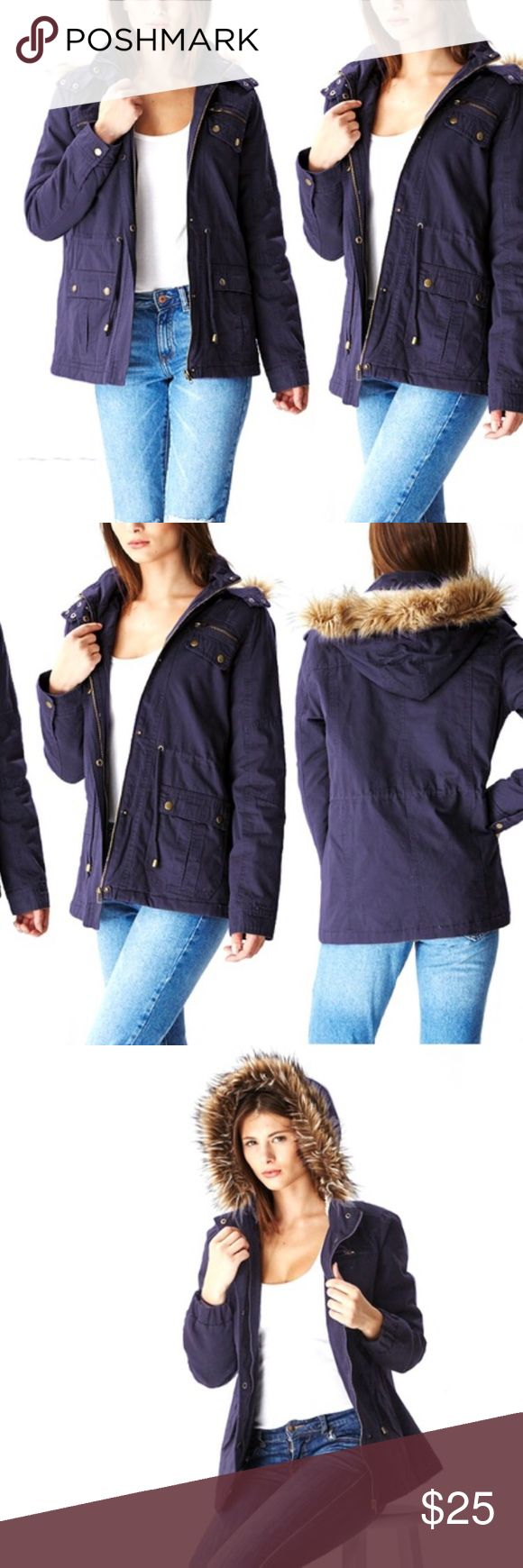 Short Navy Parka Fur-trimmed hood and zipper closure along with buttons and inner lining help make this cute jacket warmth retaining. Never worn, new with tags. Ideal for lightly chilly weather, multiple pockets, 100% cotton. Machine washable. Runs small, fits more like a large. Glamsia Jackets & Coats Utility Jackets
