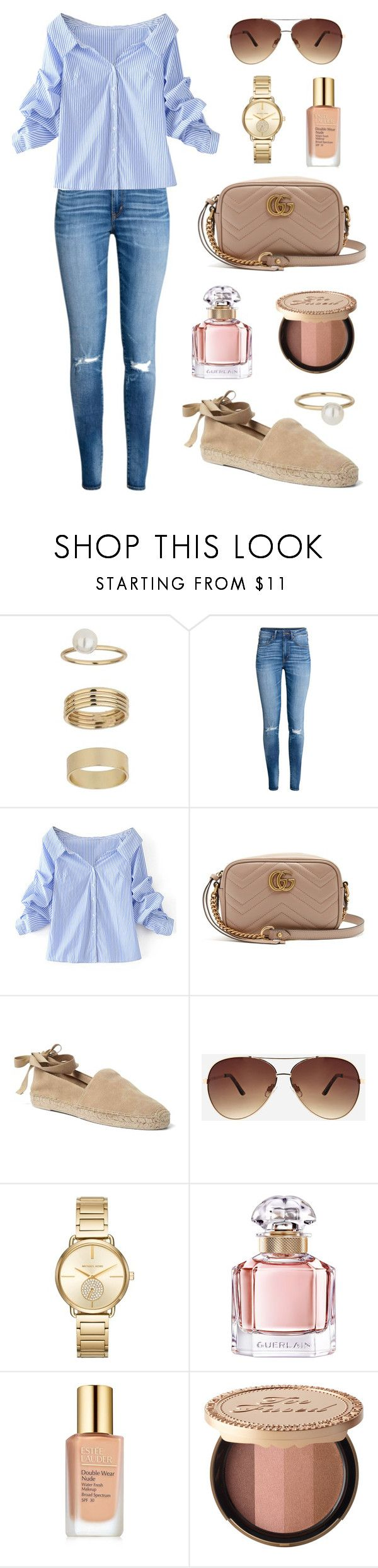 """The Blues"" by tasha-m-e ❤ liked on Polyvore featuring Miss Selfridge, WithChic, Gucci, Gap, Ashley Stewart, MICHAEL Michael Kors, Guerlain, Estée Lauder and Too Faced Cosmetics"
