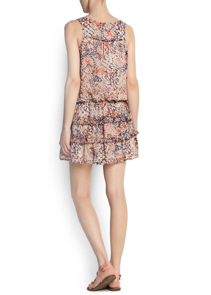 MANGO - ОДЕЖДА - Платья - Платье в цветочек с оборками