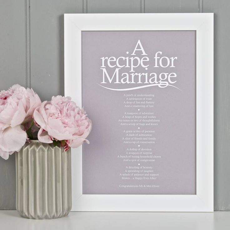A Recipe For Marriage Poem Print By Bespoke Verse