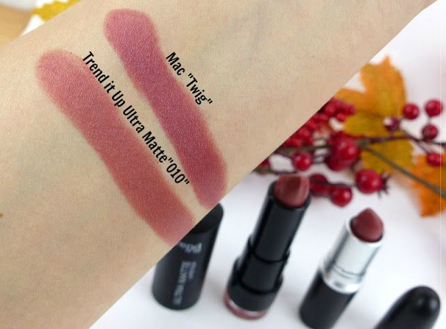 Ramona's Beauty Blog: REVIEW: Trend it Up Ultra Matte Lipstick 010 and compared to MAC Twig