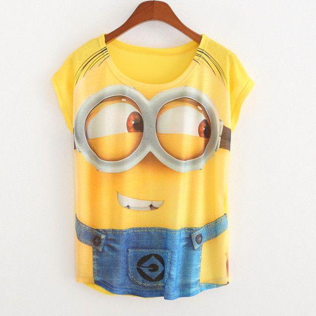 Women Batwing loose T shirts Casual Short Sleeve T-shirt Lovely Minions Cartoon 3D Print Shirt blas