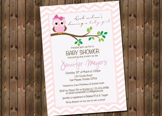 Baby Girl Shower Invitation Owl Chevron