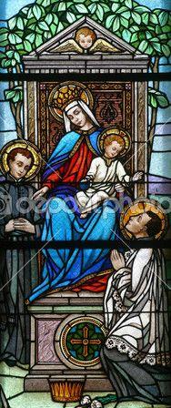 Virgem Maria com o bebê jesus e Santos — Imagem de Stock #4925430