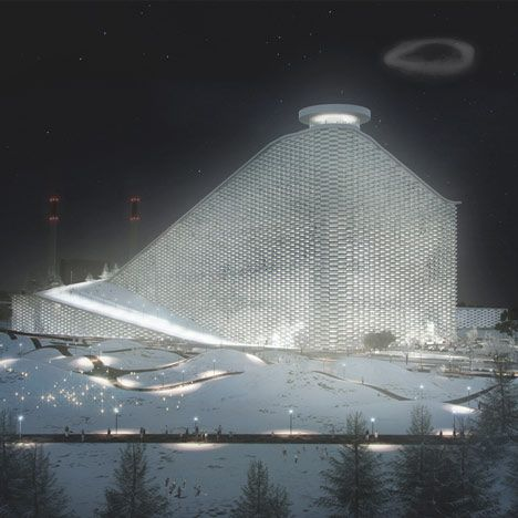 Waste-to-Energy Plant by BIG - this was presented when I was at the International Green Roof Conference by Jacob Lange. They've designed a ski slope that covers a waste plant, with the smoke stack emitting smoke circles that represent a certain about of tons of CO2 - to raise awareness. Pretty fantastic.