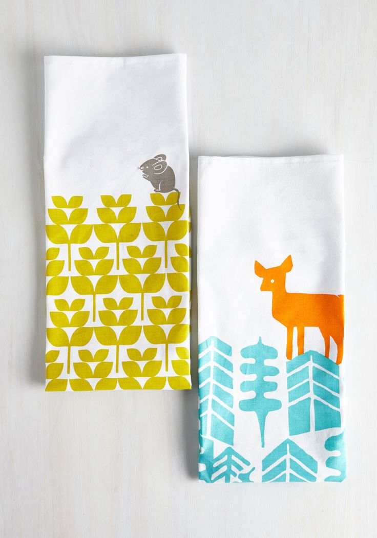 Earth the Wait Tea Towel Set. After searching the sea and sky for decor as charming as this colorful towel set, youve found it at long last! #multi #modcloth