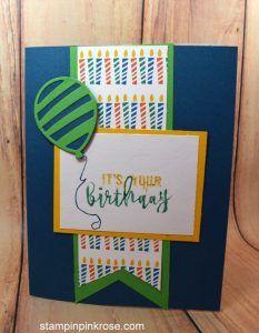 Stampin' Up! Birthday card made with Balloon Adventures stamp set and designed by Demo Pamela Sadler. See more cards at stampinkrose.com #stampinkpinkrose #etsycardstrulyheart