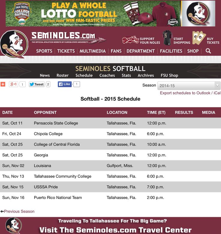 2014 FSU Fall Softball Schedule