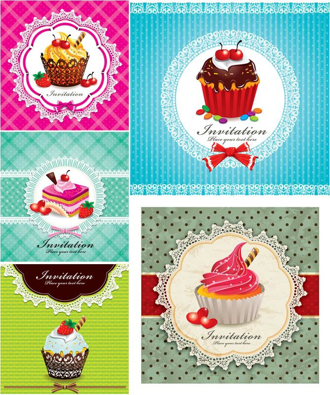 "Set of 5 vector vivid invitation card templates with cupcakes with lace tracery frames, bright vintage patterns with ornaments on the background. Format: EPS stock vector clip art and illustrations. Free for download. Set name: ""Invitation cards with cupcakes"" for…"