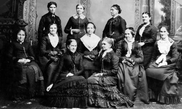 Leading women of Utah front row, from left, Jane S. Richards, Emmeline Wells; middle row, Phoebe Woodruff, Isabelle Horne, Eliza R. Snow, Zina Young, Marinda Hyde; back row, Dr. Ellis R. Shipp, Bathsheba W. Smith, Elizabeth Howard, Dr. Romania Pratt Penrose in this, Utah State Historical Society photo. Zina Young was the third Relief Society general president and was succeeded by Bathsheba W. Smith, who was succeeded by Emmeline Wells. (Utah State Historical Society)