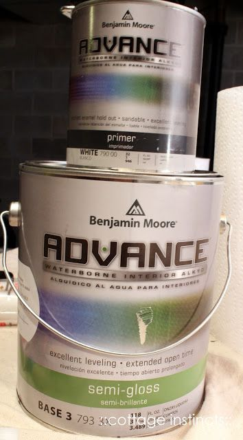 For cabinets: Benjamin Moore's Advance paint in satin. It's an alkyd--very durable.