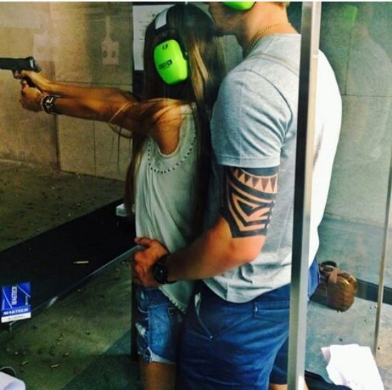 #relationshipgoals (expect the fact that I'm deathly afraid of these types of guns)