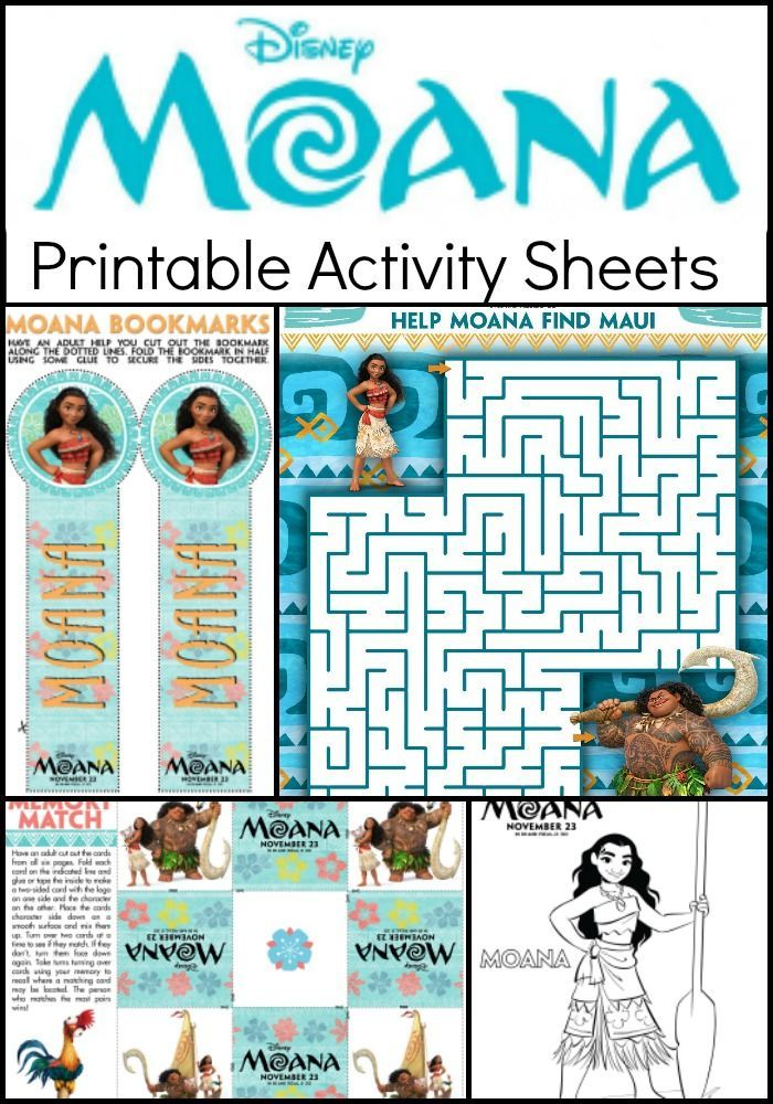 Moana Coloring Pages and Kids Activity Sheets Printable