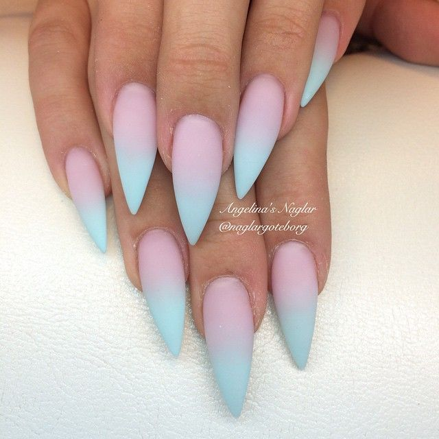 Cotton Candy Satin Fingernail Polish: Pink & Blue Gradient Nail Art, Stiletto Nails @KortenStEiN