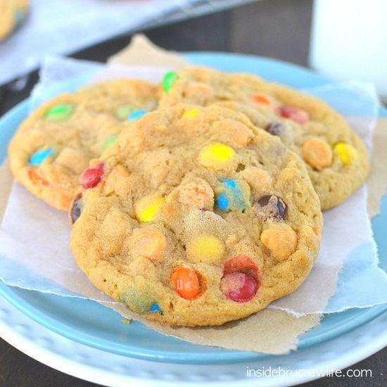 Butterscotch M&M Pudding Cookies - butterscotch pudding cookies with M&M candies and butterscotch chips