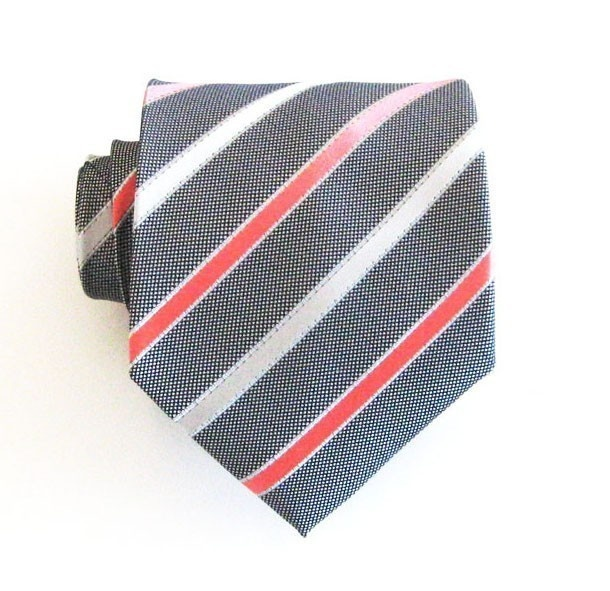 Necktie Gray White And Coral Striped Silk Mens Tie