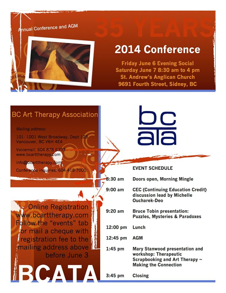 June 7 BCATA Conference in Sidney, BC the schedule of events