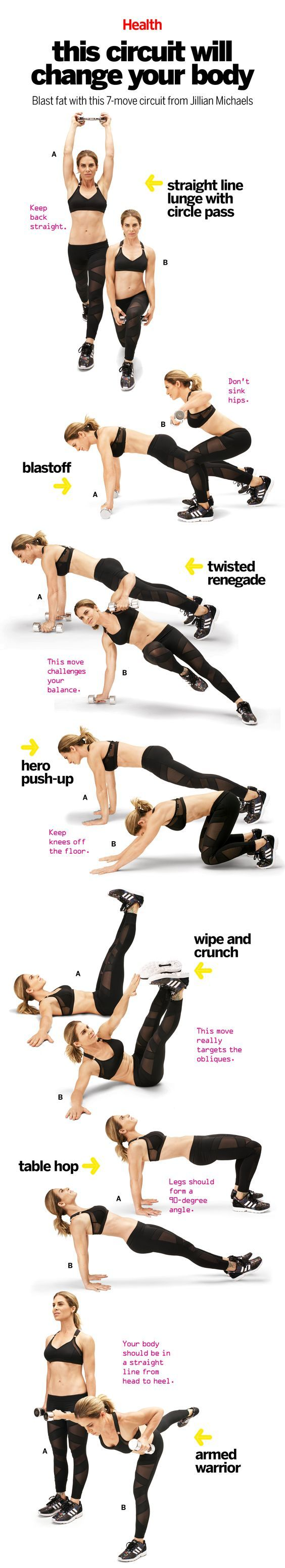 This comprehensive workout, which Jillian Michaels created for Health, trains the muscles in a way that will bust through even the most persistent plateau. Do it four times a week, paired with 20 minutes of high-intensity interval training, and watch your body be transformed. | Health.com: