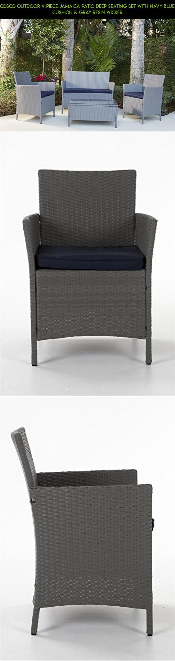 cosco outdoor 4 piece jamaica patio deep seating set with navy blue cushion u0026 gray resin - Resin Wicker Patio Furniture