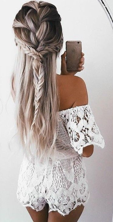#summer #ultimate #outfits |  White Lace Off The Shoulder Romper