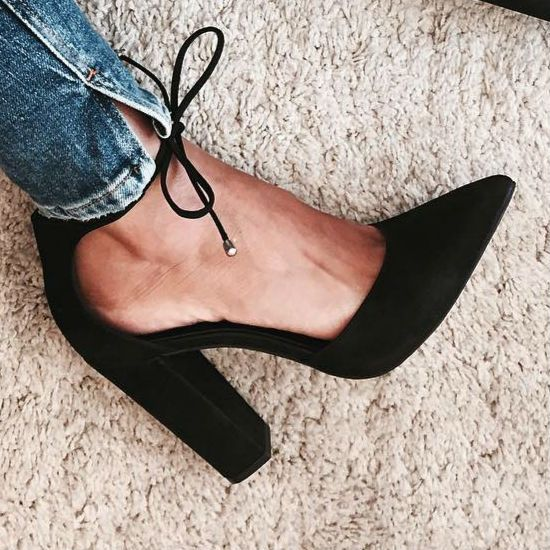 Black Chunky Pumps