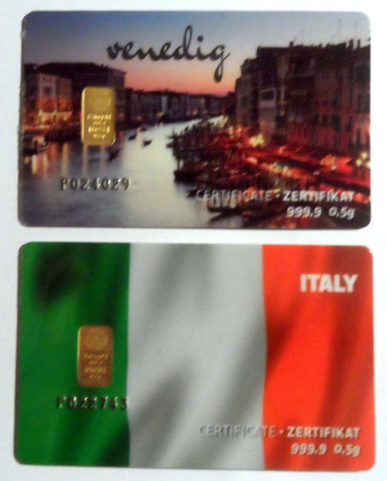 2 stuks Nadir PIM goud bar elke 05 g fijn goud - zuiverheid van 999.9/1000 24 karaat - cadeau kaart motief Venetië en Italië - 1 gram goud bar edelmetaal in cheque kaart opmaken - blaren - LBMA gecertificeerde  2 gold bars each 0.5 grams of 999.9 fine gold Motive: Venice and Italy GTIN: 8680057044275 Nadir LBMA certified Country of origin: Turkey Manufacturer: Nadir Metal Refinery Fine weight: 1 gram purity: 999.9/1000 Cheque card format sealed LBMA certified serial number Certificates on…