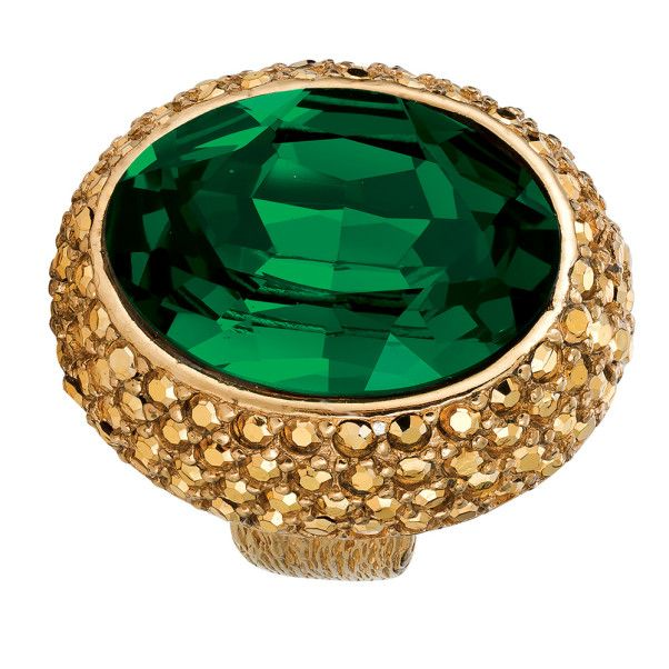 Ciner NY 18 kt Gold Plated / Emerald Her Majesty Ring - Size 7