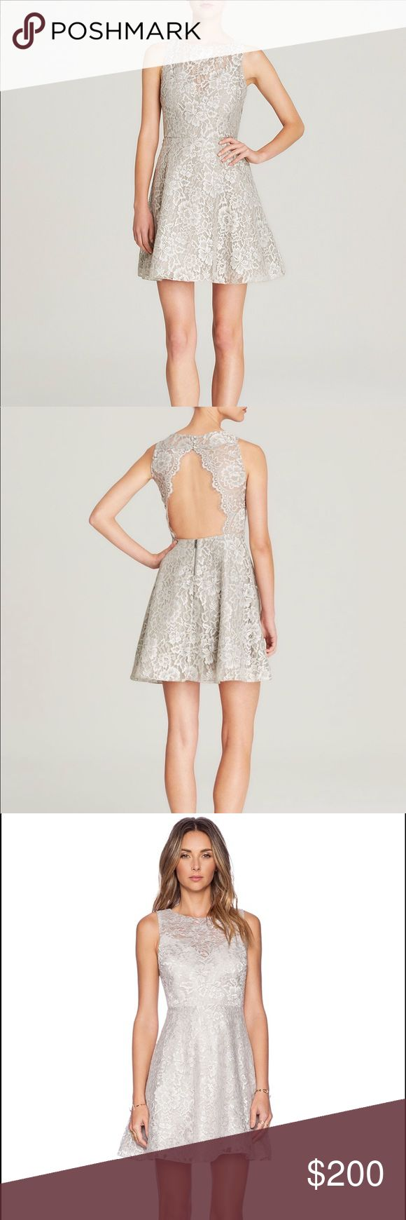 Alice + Olivia Natalia Open-Back Lace Dress Beautiful light gray lace dress with an open back. Lace is see through on the back and above the sweetheart neckline.  Perfect for any special occasion or event. Gorgeous! Alice + Olivia Dresses Mini
