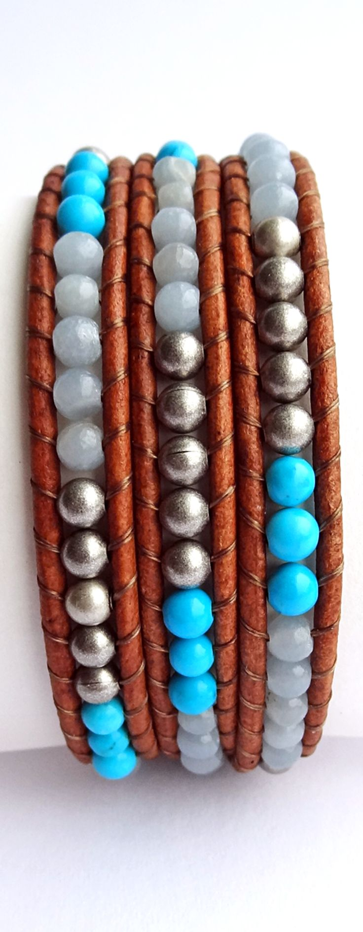 Beaded Wrap Bracelet, Leather And Bead, Chalk Turquoise, Blue Angelite,  Matte Silver Beads