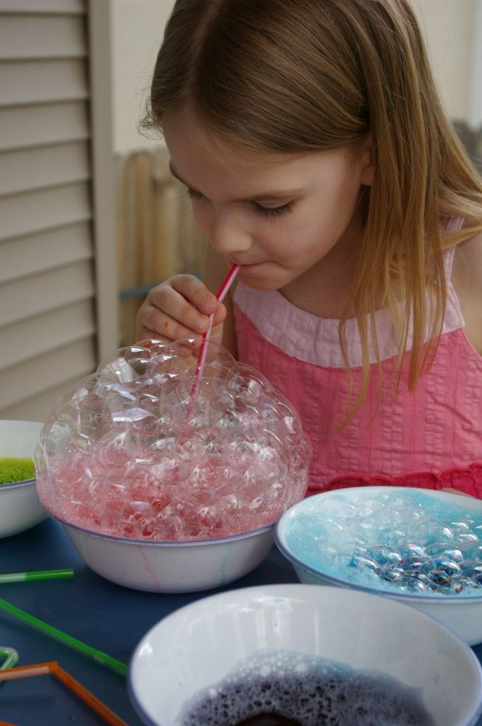 Mix dish soap, food coloring, and water. Blow through a straw to make a huge pile  of bubbles. Press paper gently into bubbles allowing them to pop on the paper. Repeate with multiple colors. Result is amazing. Poke a hole near top of straw to prevent accidental drinking.: Art Party, For Kids, Bubble Paintings, Bubbles, Food Coloring, Oral Motor, Craft Ideas, Neon Food