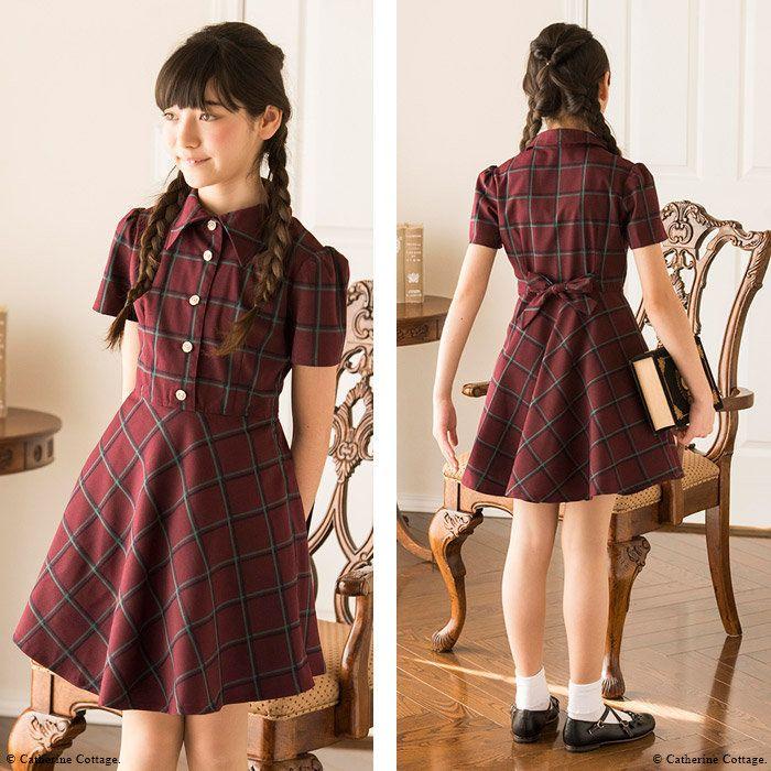 574f1070c5106  楽天市場 女の子 リボンボタンのチェックワンピース ワンピース 半袖 ジュニア 子供服