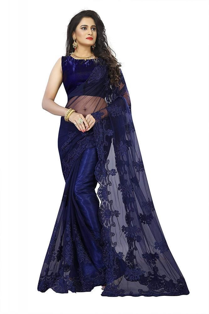 24eb6a6d2535a5 Indian Women Net and Bangalori Silk Fabric Saree with Blouse Piece  IBrand   Beauty