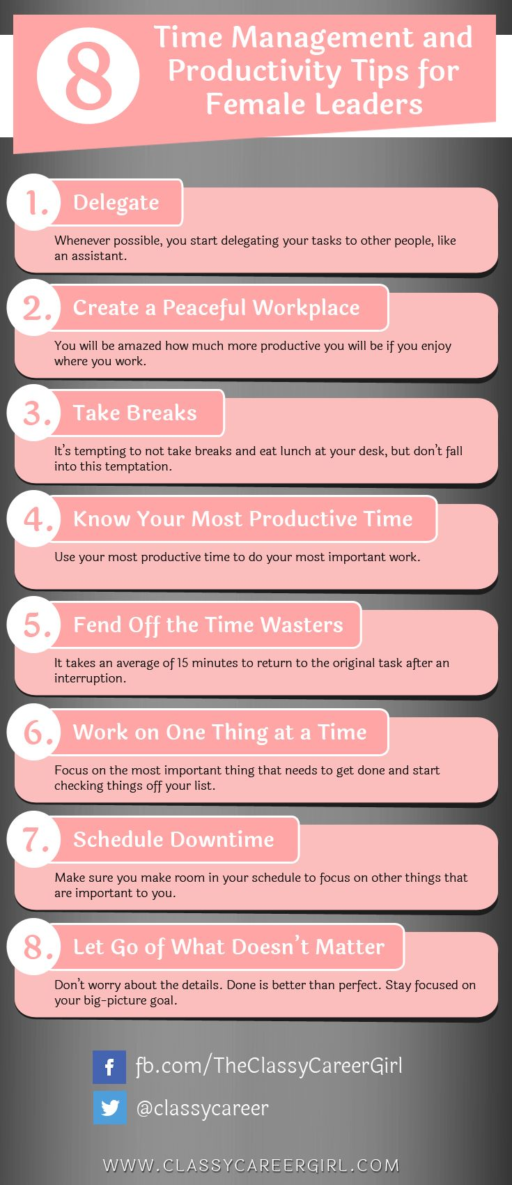 8 Time Management and Productivity Tips for Female Leaders list