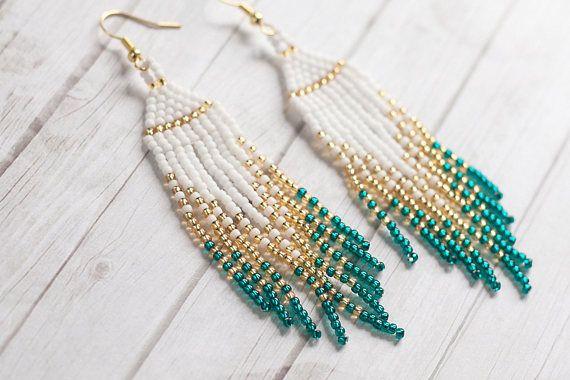 Ariel Green Beaded Tassel Earrings Seed Bead Earrings Ombre