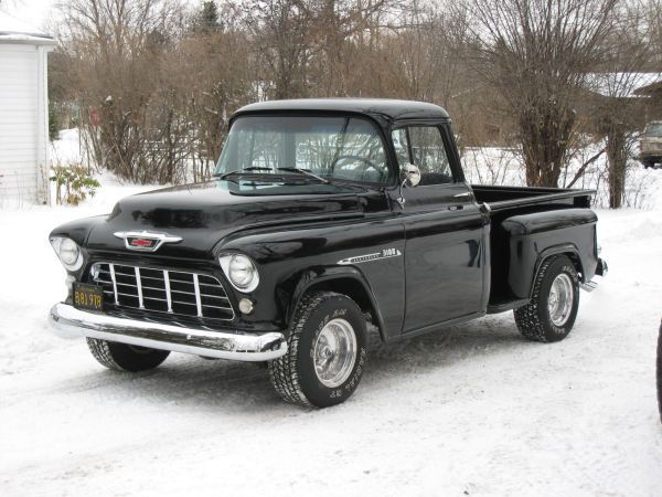 1955 Chevy Pick Up wow this brings back memories (in early 90s) of my Dads gold 57 Chevy step side with shift on the column and no power steering. It was a beast to drive, but oh so freaking fast! Its a wonder I'm still alive! Man how parenting has changed since then! Lol