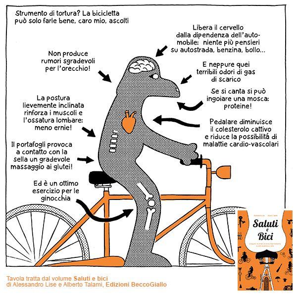 Saluti e bici, il nuovo libro di Lise & Talami, in #libreria da oggi, giovedì 25 settembre 2014. Una divertente pedalata alla scoperta della #bicicletta: un sillabario a #fumetti totalmente arbitrario dedicato a storia, manutenzione e politica dell'unico mezzo di trasporto che unisce #ecologia, #sport e #divertimento