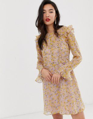 ddb4ef6759431 River Island tea dress with frills in floral print | Fashion & photography  | Dresses, Floral prints, Casual dresses
