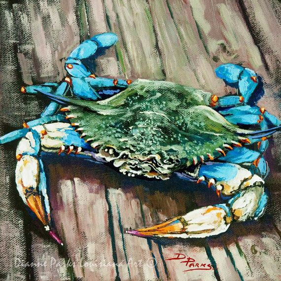 Louisiana Blue Crab on Dock, New Orleans Seafood Painting, Gulf Coast Blue Crab, Louisiana Seafood Art by New Orleans Artist  FREE SHIPPING!