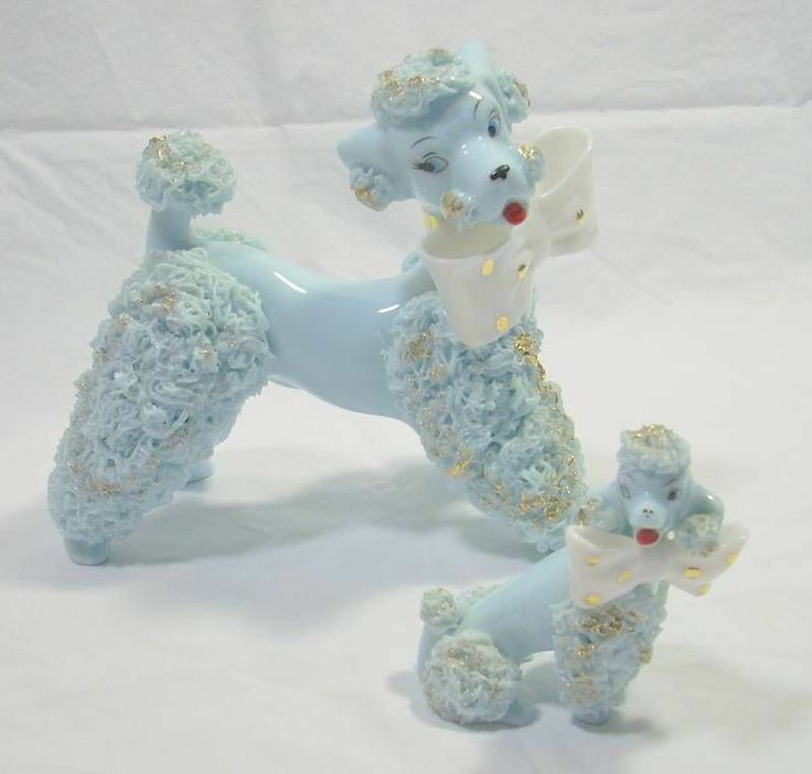Vintage Lefton Large Baby Blue Spaghetti Poodles Figurines Polka Dot Bow Tie