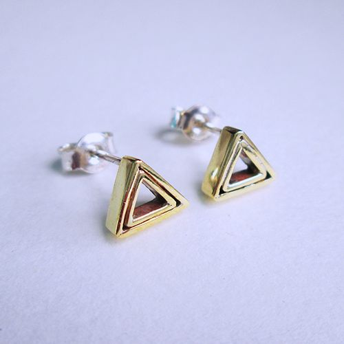 Brass triangle studs. #silver #earrings #gift #geometricjewellery #handmade
