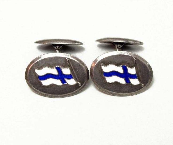 Alte Finnland-Manschettenknöpfe, Silber m. emaillierter Flagge