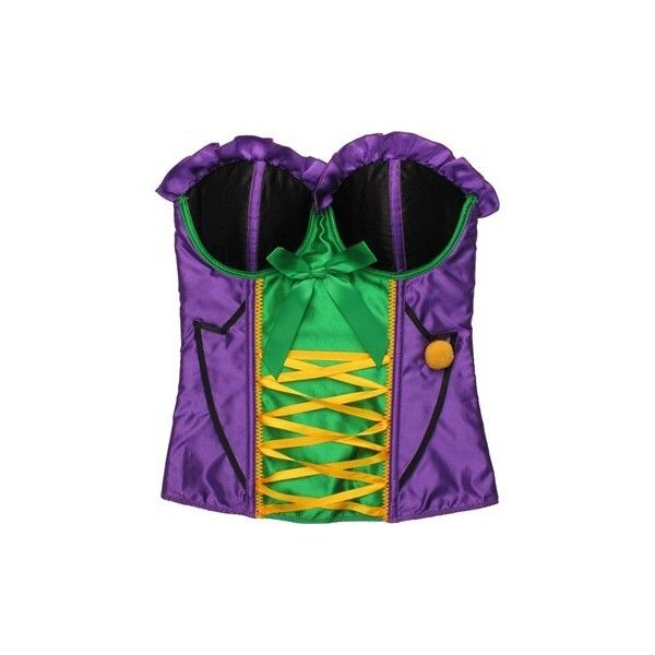 DC Comics Joker Ribbon Costume Bustier (39 AUD) ❤ liked on Polyvore featuring costumes, joker halloween costume, green costumes, dc comics halloween costumes, green halloween costumes and dc comics costumes