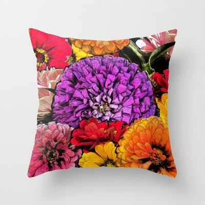 Power Flowers Throw Pillow by Shu | Formanuova - $20.00