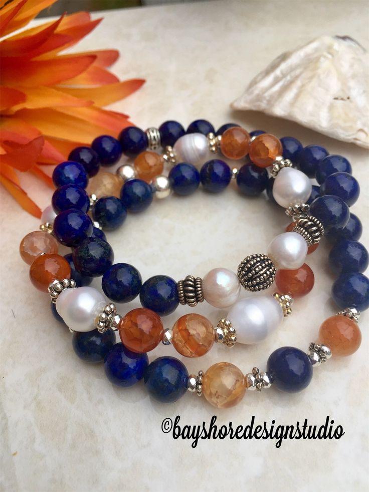 Lapis, pearl and orange agate bracelet stack