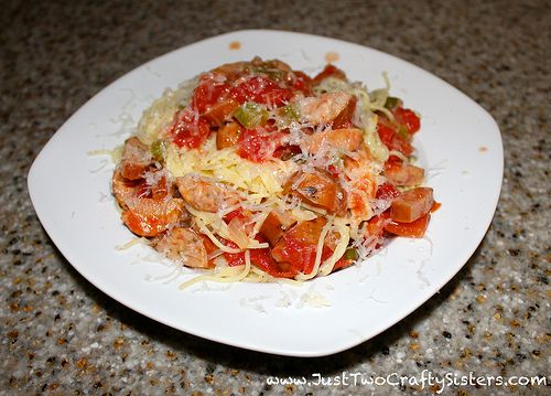 Kielbasa pasta recipe with tomatoes, bell pepper and onion